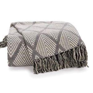 Modern Farmhouse Gray Diamond Throw Blanket